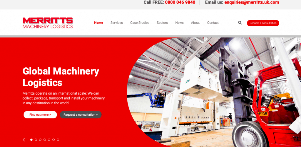 Merritts Heavy Machinery Movers new website